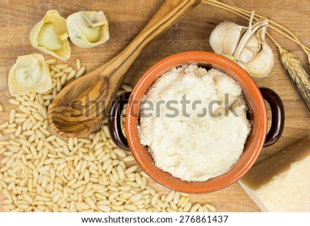 pine seed sauce with food ingredients - stock photo