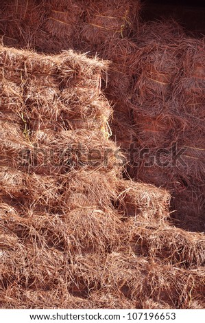 pine straw for sale at a garden supply center in North Carolina - stock photo