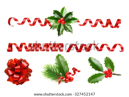 Pine tree branch, Holly berry leaves and red ribbon. Christmas decoration isolated on white background. - stock photo