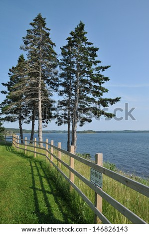 Pine trees and a wooden fence next to the water at Battery Provincial Park in Nova Scotia - stock photo