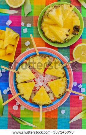 Pineaple - delights with pineapple - stock photo