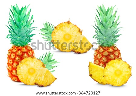 pineapple collage isolated on white background - stock photo