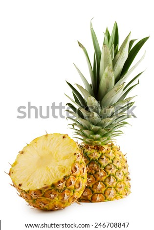 Pineapple cut in half isolated on a white background - stock photo