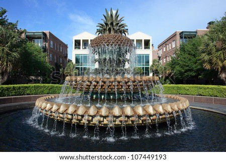 Pineapple Fountain at Waterfront Park in Charleston, South Carolina - stock photo