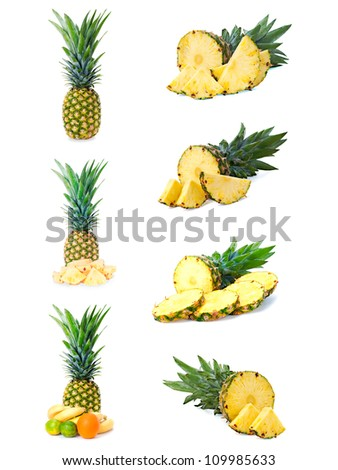 Pineapple fruits with cut isolated on white background. - stock photo