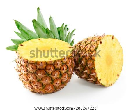 pineapple half isolated on white - stock photo