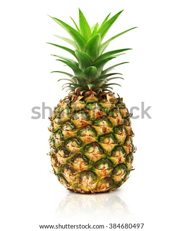 Pineapple isolated on white background, ananas tropical fruit - stock photo