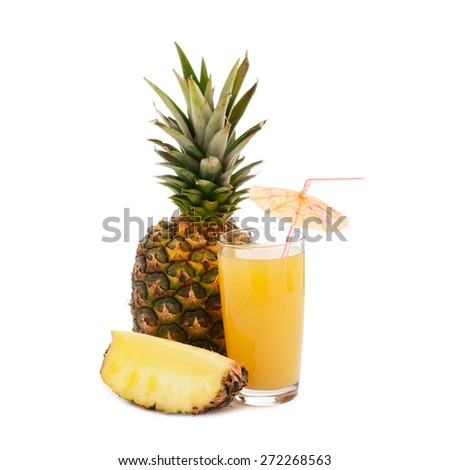 Pineapple juice and fresh tropical fruits - stock photo