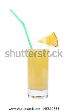 Pineapple juice in a glass. - stock photo