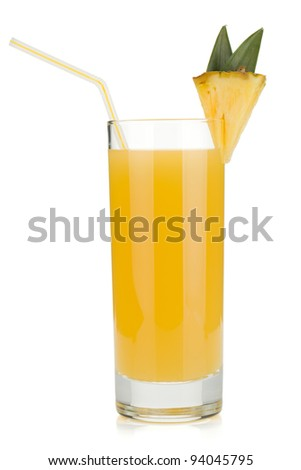 Pineapple juice in a glass with drinking straw. Isolated on white background - stock photo