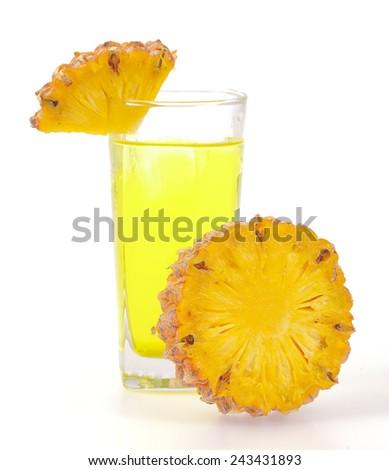 pineapple juice isolated on white background - stock photo