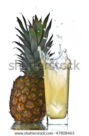 pineapple juice splash - stock photo