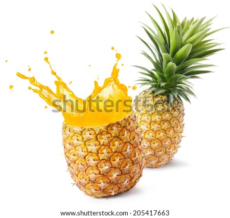 pineapple juice splashing out from its fruit - stock photo