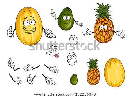 Pineapple, lime and melon fruits in cartoon style for bio food design. Vector version also available in gallery - stock photo