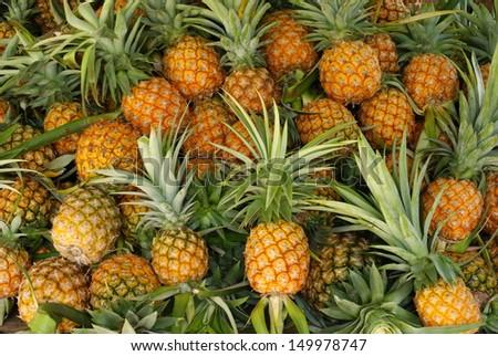 pineapple, market - stock photo