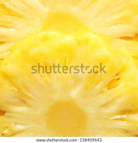 Pineapple slice close up image (background) - stock photo
