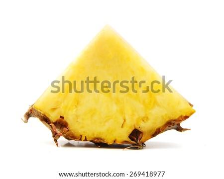 pineapple slice isolated on white background - stock photo