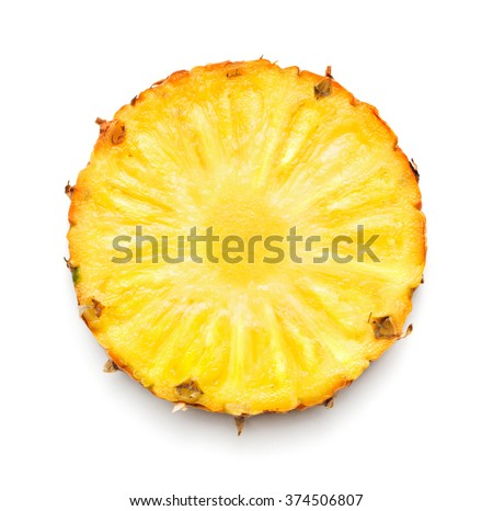 Pineapple slice isolated on white background - stock photo