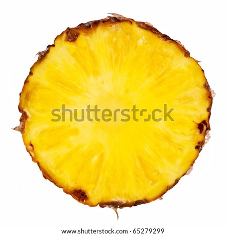 Pineapple slice isolated over white background. - stock photo