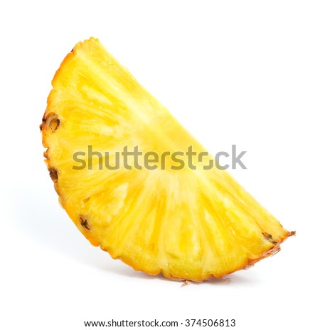 Pineapple slice on white background - stock photo