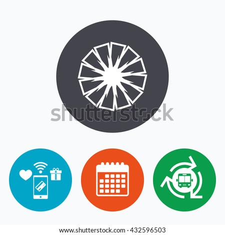 Pineapple slice sign icon. Ananas exotic tropical fruit symbol. Mobile payments, calendar and wifi icons. Bus shuttle. - stock photo