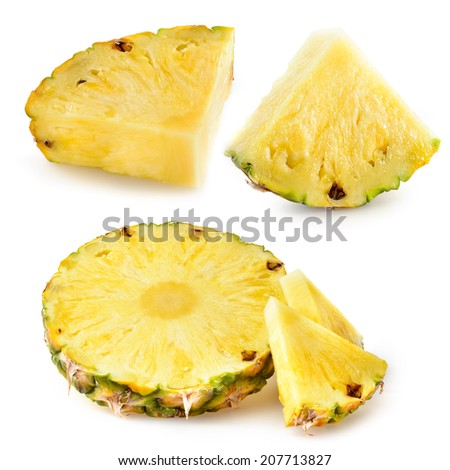 Pineapple slices isolated on white - stock photo