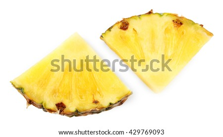 Pineapple slices, isolated on white - stock photo