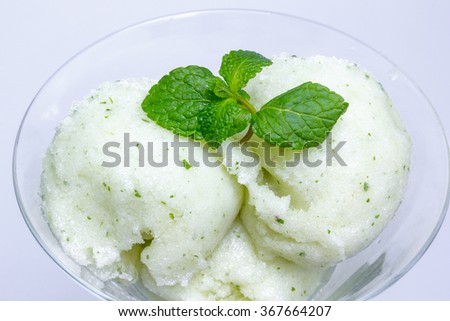 Pineapple sorbet ice cream in a glass cup - stock photo