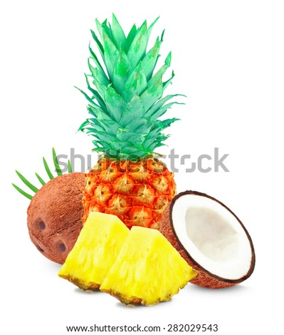 pineapple with coconut isolated on a white background - stock photo