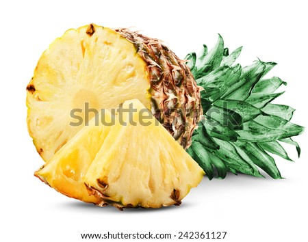 pineapple with slices isolated on white background - stock photo
