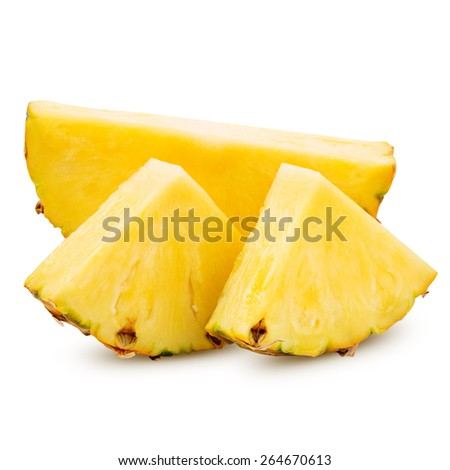 pineapple with slices isolated on white Clipping Path  - stock photo