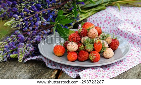 Pineberry and strawberry on the plate, wooden old background - stock photo
