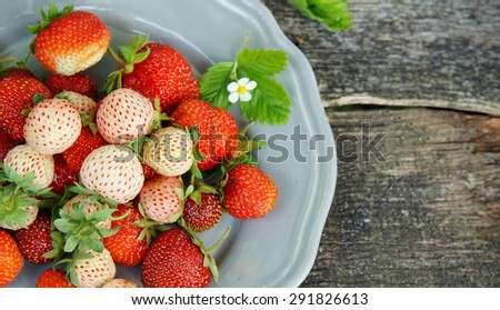 Pineberry and strawberry on the wooden old background - stock photo