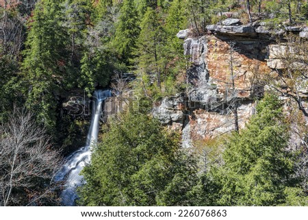 Piney Creek Falls At Fall Creek Falls State Park In Tennessee - stock photo