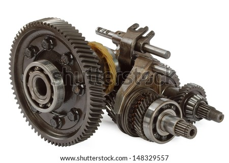 Pinions and differential  from  gearbox, isolated on white background - stock photo