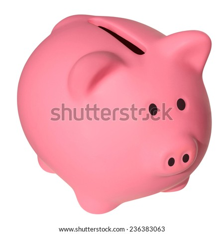 Pink a piggy bank isolated on white background with Clipping Path - stock photo