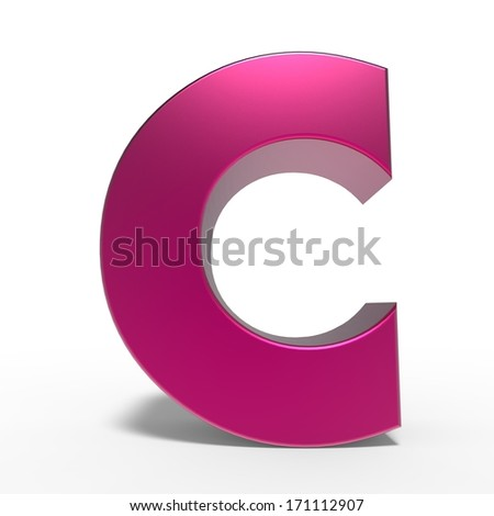 pink ABC, letter C isolated on white background - stock photo
