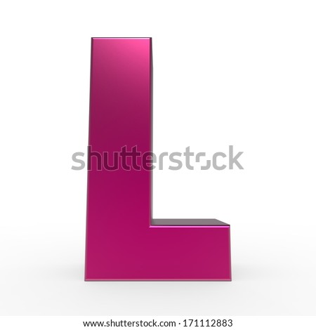 pink ABC, letter L isolated on white background - stock photo