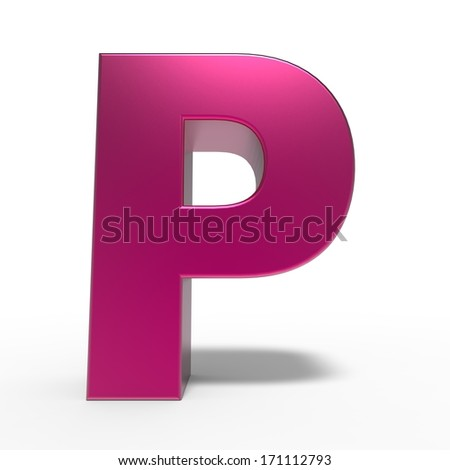 pink ABC, letter P isolated on white background - stock photo
