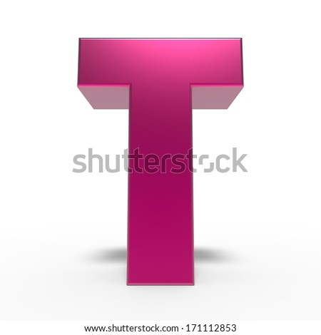 pink ABC, letter T isolated on white background - stock photo