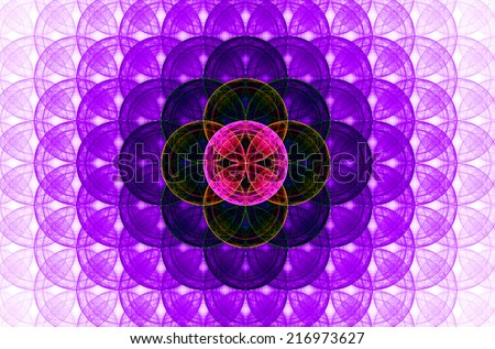 Pink abstract fractal background with a detailed decorative flower of life pattern spreading from the center which is in dark pink, purple and yellow colors - stock photo