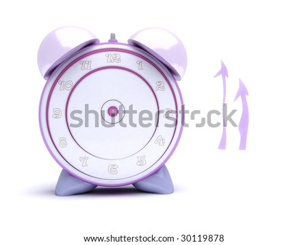 pink alarm clock with pointers separated - stock photo