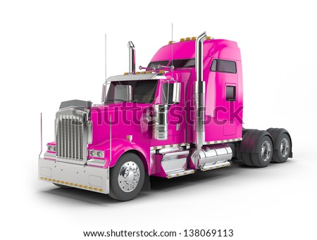 Pink american truck isolated on white background - stock photo