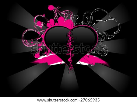 Pink and black heart. - stock photo