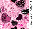 Pink and black Hearts on a pink background - seamless pattern. Raster version - stock photo