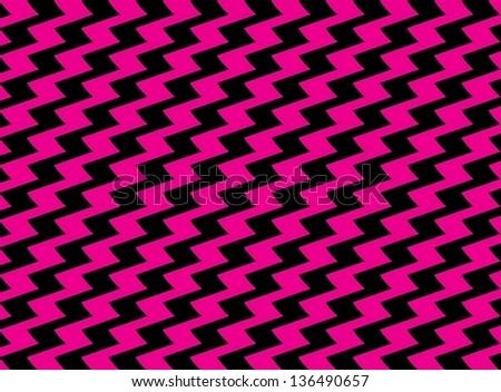 Pink and Black Zig Zag Pattern - stock photo