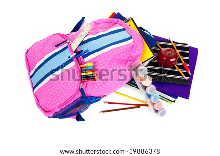 Pink and blue backpack with school supplies including paint, pencils, notebooks, pens, markers, erasers and apple on a white background - stock photo