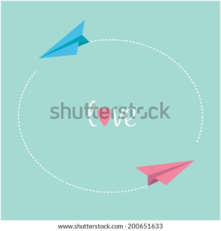 Pink and blue origami paper planes. Round dash frame in the sky. Love card.  - stock photo
