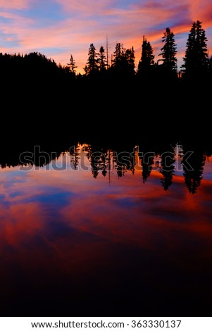 Pink and Blue Sunset and Trees Reflected in Alpine Lake.  Olympic National Park, Washington - stock photo