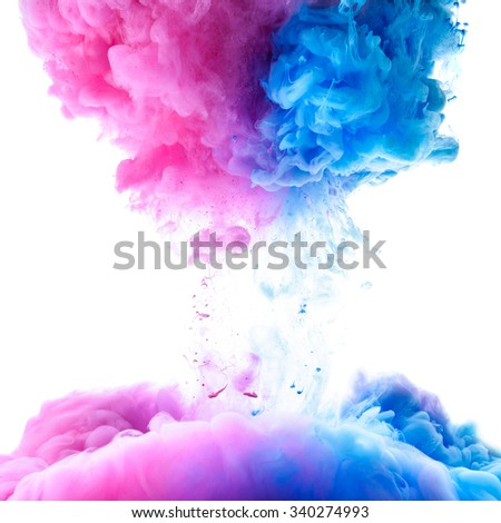 Pink and clue paint clouds in water, white background - stock photo